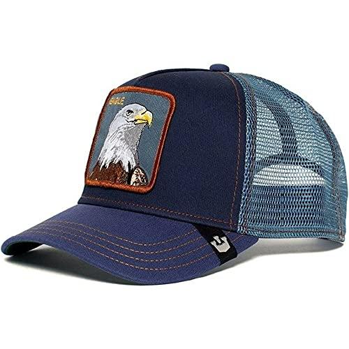 Gorra de béisbol de algodón Snapback deModa Hombres y Mujeres, Gorra de Camionero de Malla de papá Hip Hop-Eagle