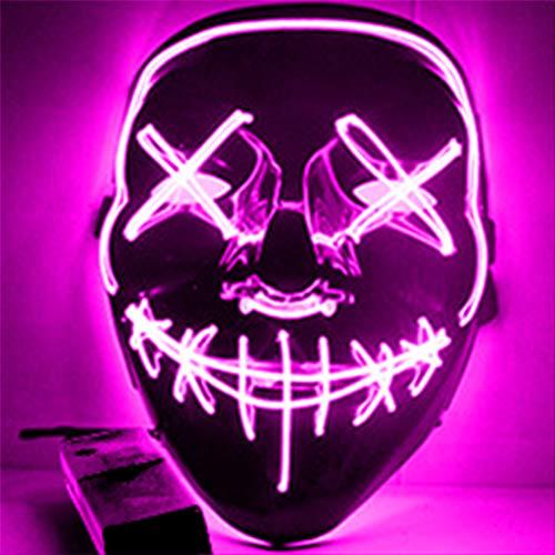 Máscaras de LED, máscaras iluminadas de dia das bruxas, máscara de LED para fantasia de Halloween, rave, cosplay, purga de Halloween, flash, 3 modos, luz eletroluminescente, máscara assustadora que brilha no escuro para cosplay de Natal