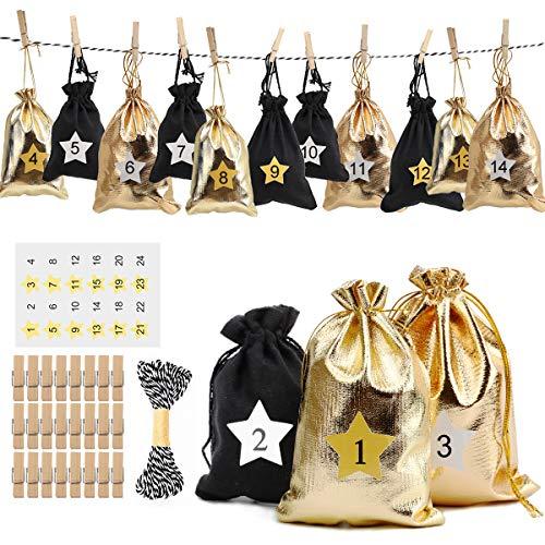 Herefun 24Pcs Geschenksäckchen Adventskalender zum Befüllen Groß, Säckchen für Adventskalender mit 24 Adventszahlen Aufkleber, Jute Säckchen Jutesack Weihnachten Stoffsäckchen zum Selberfüllen