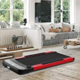 OVASTLKUY Slim Flat Treadmill for Under Desk and Home Fitness Walking Machine Remote Control, Jogging Running Machine for Home/Office (red)