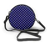 Azul marino y blanco lunares patrón de lunares mujer Slant Bag, personalizado solo hombro bolso, bolsa de la fecha bolsa de turismo