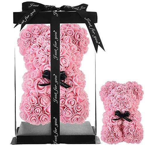 Rosa oso, regalo para mamá, mujer, para adolescentes, regalos para madres, regalos hechos a mano,osito de rosa, oso de peluche,rosa,día de San Valentín, cumpleaños - oso de rosas con caja (Rosa claro)