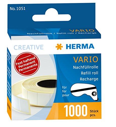 HERMA 1051 Nachfüllkrolle für Kleberoller, permanent (13 x 12 mm) selbstklebende Nachfüllkassette mit 1.000 doppelseitigen Klebestücken für Fotos, Basteln, Schule und Büro