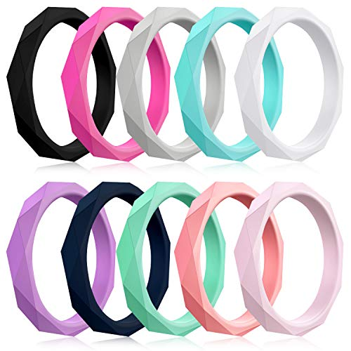 Mokani 10 Pack Silicone Wedding Ring for Women, Thin and Braided Rubber Band, Fashion, Colorful, Comfortable fit, Skin Safe, Size 8