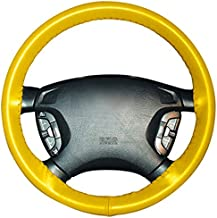 product image for Wheelskins Genuine Leather Yellow Steering Wheel Cover Compatible with Pontiac Vehicles -Size A