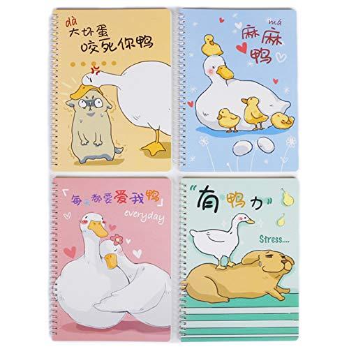 EFSDF Libreta Espiral Básico, Hoja de Cuaderno Patrón de Dibujos Animados Lindo, B5 Viaje Diarios, 120 Páginas, 60 Hojas para Escolar Escribir Professor, 4PCSF