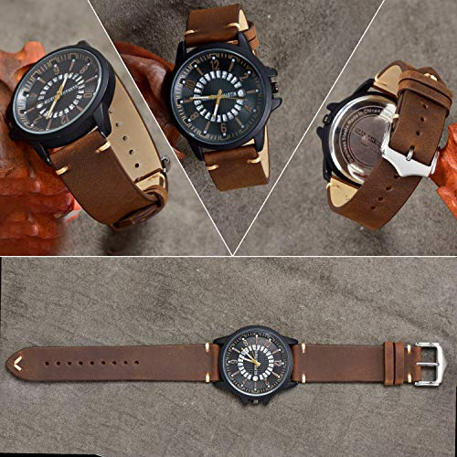 Leather Watch Bands 22mm for Men EACHE Vintage Watch Straps Brown for Women Crazy Horse Leather Replacement Watchband