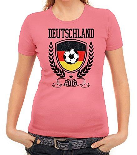 Germany Fußball WM Fanfest Gruppen Fan Damen Frauen T-Shirt Rundhals Pokal Deutschland 2018, Größe: XL,Rosa