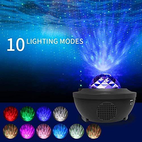 Sternenhimmel Projektor Nachtlicht,ZXO 2-in-1 Sternenhimmel Nachtlicht und Wellen Projektor, Musik Bluetooth-Lautsprecher-Timer mit Fernbedienung 10 Farben ändern [Klasse B Energie]