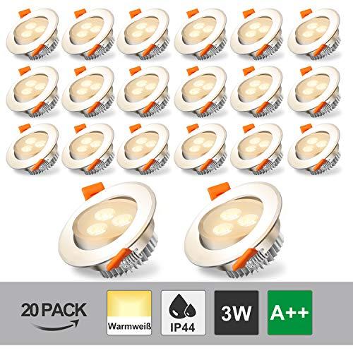 Hengda LED Einbaustrahler Flach 3W 230V Spots IP44 Warmweiß 20er Set Badezimmer Einbauleuchten 3000K 245lm Deckenspot für Wohnzimmer Schrank Flur