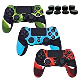 PS4 Controller Silicone Cover Skins, BRHE 3 Pack DualShock 4 Protector Case Accessories Set for Sony...