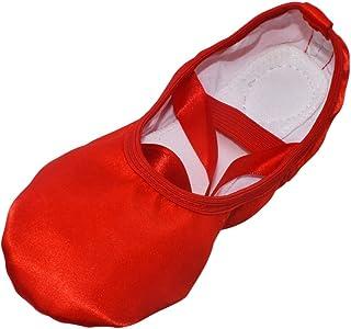 Meijunter Chaussures de Ballet en Ruban Soie pour Filles Pantoufles de Danse Bout Rond - Gymnastique d'Intérieur Danse Mod...