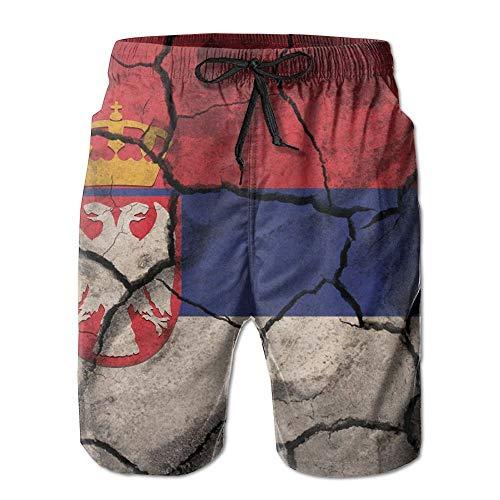 tyui7 Broken Serbia Map Flag Herren Badehose Quick Dry Beachwear Sport Running Swim Board Shorts Netzfutter, Größe L