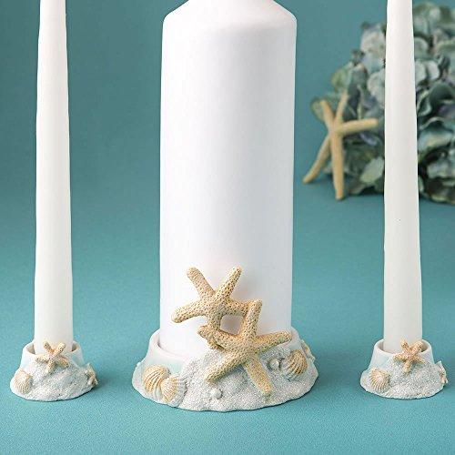 FASHIONCRAFT Beach Wedding Decoration, Ceremony Unity Candle Holder, Starfish Seashell Nautical Theme, Polyresin, Sand White and Sea Blue