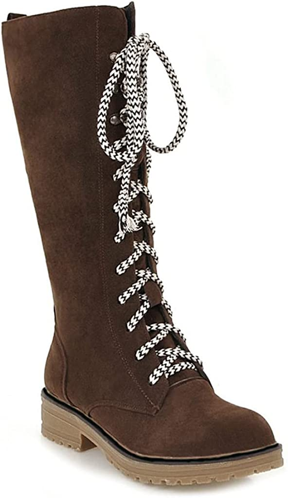 JOEUSTY Women's Winter Lace Up Fur Snow Boots Waterproof Mid Wide Calf Anti-slip Flat Warm Furry Snow Boot