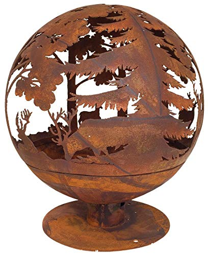 Esschert Design Fallen Fruits Oxidised Woodland Globe Speher Fire Pit Basket Bowl Cast Iron