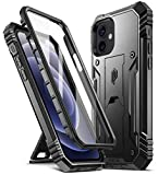 POETIC Revolution for iPhone 12 / iPhone 12 Pro Case 6.1 inch (2020 release), Full-Body Rugged Dual-Layer Shockproof Protective Cover with Kickstand and Built-in-Screen Protector, Black