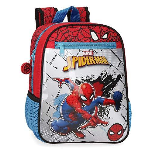 Marvel Spiderman Red Zainetto asilo adattabile al carrello Rosso 23x28x10 cms Poliestere 6.44L