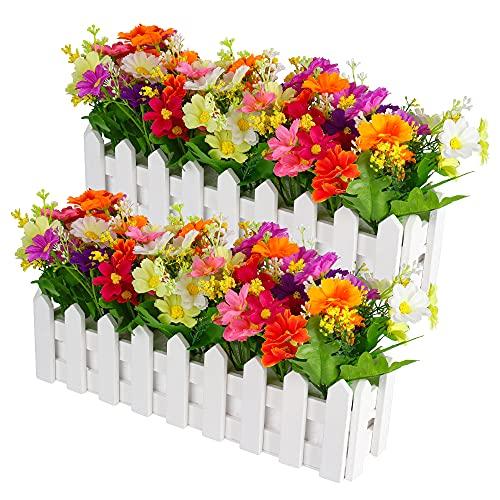 Kunstblumen im Topf, MOPOIN 2Stk Deko Blumen Künstlich mit Holzzaun, Kunstblumen Herbst, Orchideen Künstlich, Unechte Blumen Deko für Balkon Wohnzimmer Garten 30*7.5*17cm
