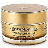InfiniteAloe Gold Anti-Aging Formula - Eye, Face and Neck Cream - Cutting Edge Nanotechnology with Aloe, Peptides, Vitamins, Collagen, Alpha Lipoic Acid and DMAE - (1) 1.7oz
