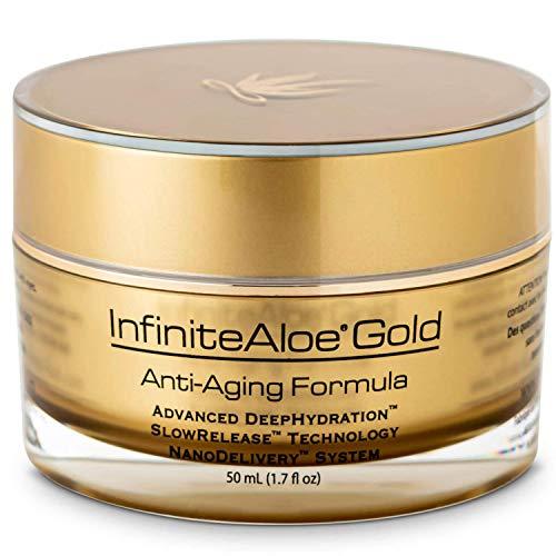 InfiniteAloe Gold Anti-Aging Formula - Natural Under Eye, Face and Natural Neck Cream - Organic Anti-Aging with Aloe, Peptides, Vitamins, Collagen, Alpha Lipoic Acid and DMAE [Medium, 1 - 1.7oz]