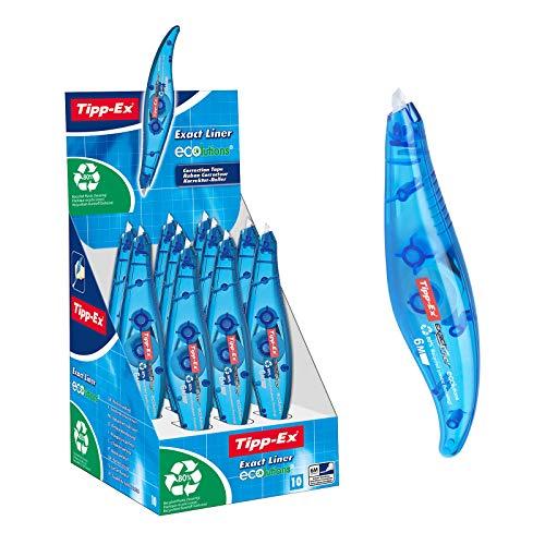 Tipp-Ex ECOlutions Exact Liner Korrekturroller, 10er Pack Korrekturmäuse in Blau, Korrekturband 6 m x 5 mm