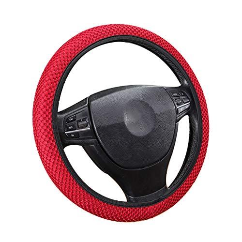 Sandwichstof-autostuurwieldop van 36-39 cm, ademend rolgordijn, duurzame autohoezen voor de meeste auto's Rood