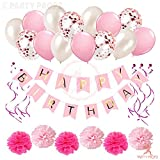 The Pink and White girls Birthday decorations Combo Set items exclusive packet includes - 1Pc pink happy birthday paper banner, 12Pcs pink cardstock swirls, 6Pcs light pink and dark pink paper pom pom and 5Pcs pink latex balloons, 5Pcs white latex ba...