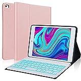 IVEOPPE Funda con Teclado para iPad Mini 5 2019, Funda Ultrafino con Español Ñ Teclado Bluetooth 7 Colores retroiluminados Inalámbrico Compatible con 7.9 Pulgadas iPad Mini 5/4/3/2/1 (Oro Rosa)