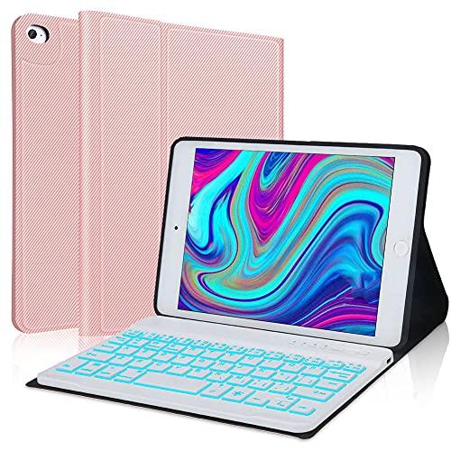 IVEOPPE Étui de protection pour clavier compatible avec iPad Mini 5 (5ème génération 2019)/iPad Mini 4/3/2/1, iPad Clavier Bluetooth rétroéclairé 7 couleurs (or rose)