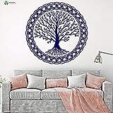 Crjzty Vinilo Tatuajes de Pared Árbol de la Vida Patrón Complejo Familia Estilo Celta Sala de Estar Decoración del hogar Pegatinas 57x57cm