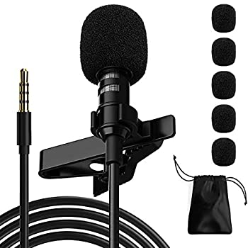Ryqtop Professional Lavalier Microphone,Phone Microphone,Noise Reduction Mic Suitable for Interview,Video,Recording,Black.59''