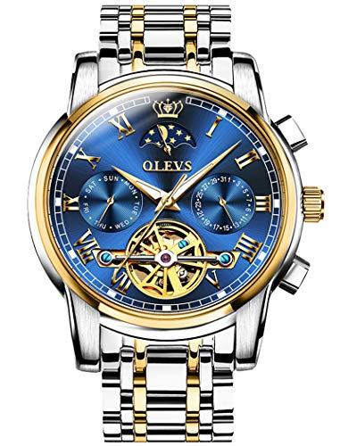 機械式 時計 自動巻き 腕時計 メンズ うで時計 ビジネス おしゃれ 防水 男性用 高級 ブランド スケルトン ビッグフェイス ステンレスバンド アナログ 紳士 人気 ムーンフェイズダイヤル カレンダー ブルー 父の日 プレゼント OLEVS