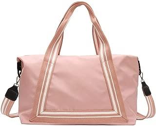 YALADLY Waterproof Travel Bag Sports Bag Female Large-Capacity Short-Distance Travel Bag Canvas Casual Shoulder Fitness Bag (Color : Pink)
