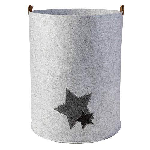 Cesto para la ropa de fieltro redondo Ø35,0 x 45,0 cm (altura) con estrellas gris claro (símbolo y color a elegir), cesta de almacenamiento plegable con asas de piel sintética
