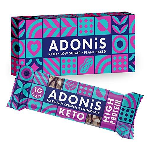 Adonis Keto Protein Riegel | Haselnuss Crunch & Schokolade Snack Riegel | 100{3fdd6efa1b83ad891e2f3bf02b636fa57f8671b45e4ff9c2f541d86e7eb77bea} Natürliche Nuss Snacks, Low Carb, Vegan, Low Sugar (Box of 6)
