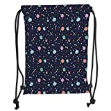 LULUZXOA Gym Bag Printed Drawstring Sack Backpacks Bags,Space,Alien Planets with Shooting Stars and Polka Dots Galaxy Heavenly Bodies Asteroid,TH