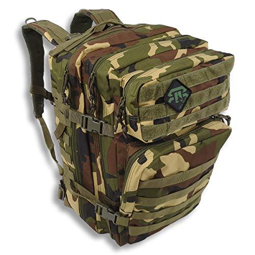 REX RAW ® - Sac à Dos Tactique Militaire - Grande Capacité Extensible 40L + Molle - pour Camping Chasse Airsoft Paintball Urbex Trekking Collège Survivalisme Voyage - Pochette PC (Foret)