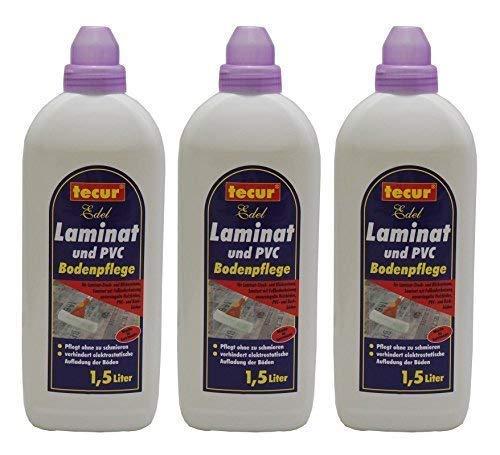 3 x 1,5L tecur Edel Laminat und PVC Bodenpflege, Laminatpflege Laminatreiniger