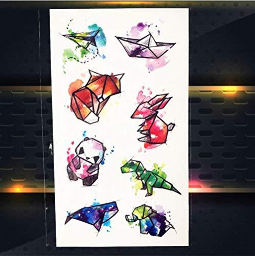 5 Unids Color animal barco de papel Dibujos Tatuaje Temporal Pegatinas Color de Agua Transferencia de Agua Tatuaje Body Art
