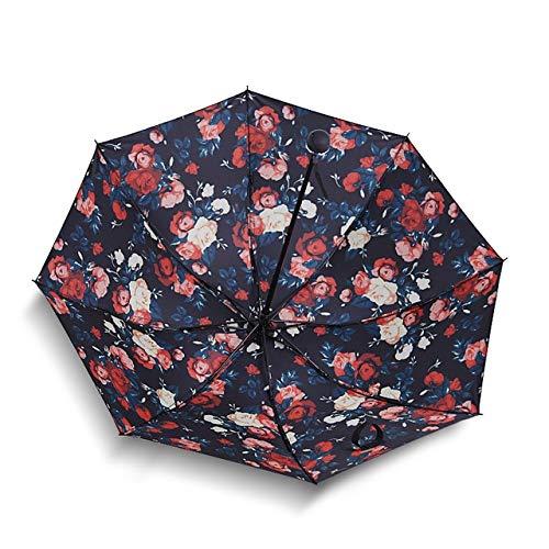 RJGOPL Faltbarer Regenschirm mit schwarzer Beschichtung, kreativer Sonnenschirm, Werbe-Sonnenschirm, für Erwachsene, weibliche Regenschirme, Geschenke, Bellamy Rot