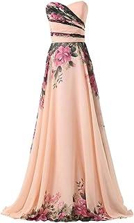 Abito Cerimonia Donna - Vestiti Lunghi Ragazza Beige Rosa Pesca in Chiffon - Eleganti per Sposa Cerimonia e Damigella - Fa...