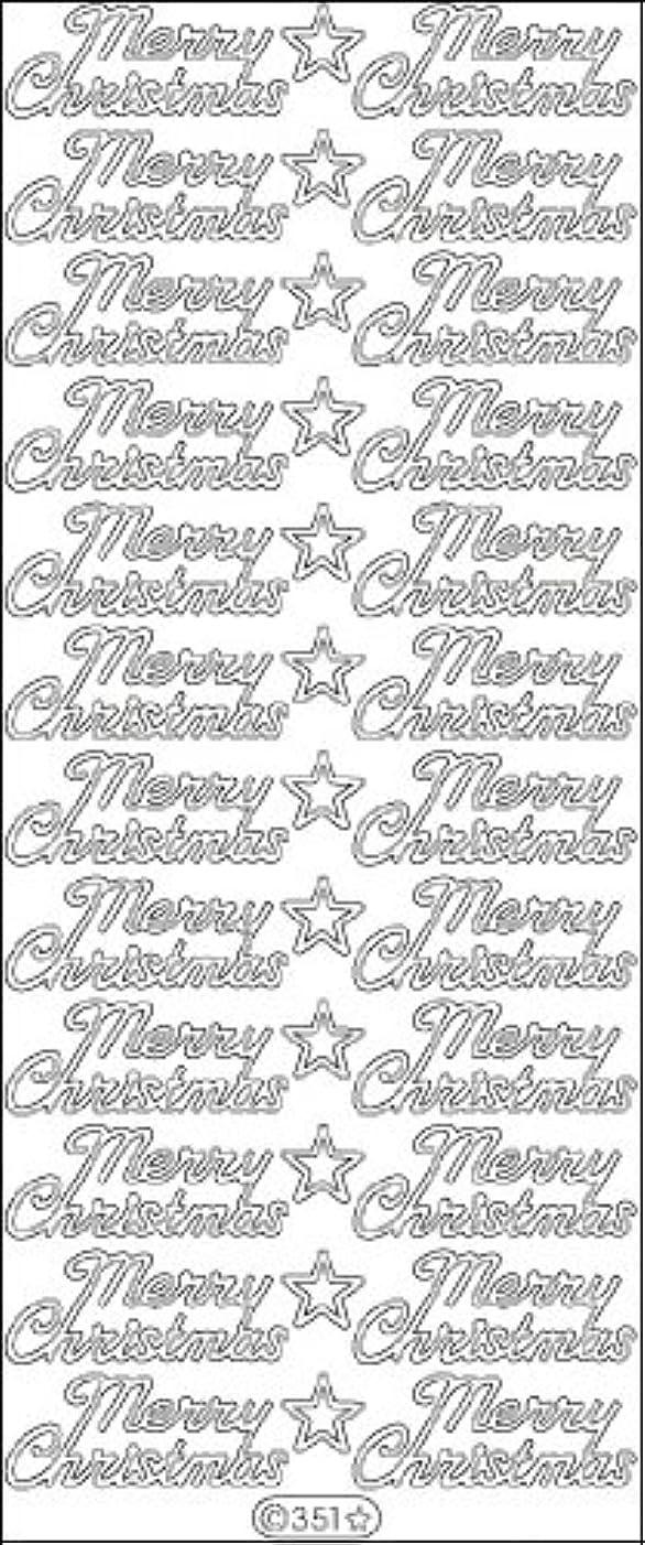 Elizabeth Craft Designs Merry Christmas Peel-Off Stickers, Silver