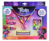 Trolls 2 15-Piece Accessory Box Jewelry Set - Trolls World Tour Jewelry Kit for Kids - Necklace, Bracelet, Barettes, Ponies & Elastic, Set of 15 Cute Pretend Play Fashion Accessories for Boys & Girls