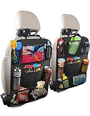 Hossom Autorugleuningbeschermer, 2 stuks auto-achterbank-organizer voor kinderen, kick-mat-bescherming voor autostoel met doorzichtige grote iPad-tablethouder, waterdicht