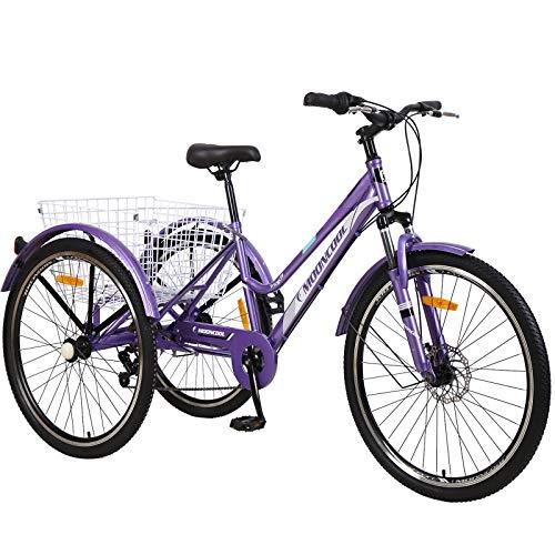 "VANELL Adult Tricycle 7 Speed Three Wheel Trike Bike Bicycle Large Basket for Men/Women/Seniors/Youth (Upgrade-Violet, 24""&7speed)"