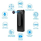 Hidden Camera-Spy Camera - Mini Body Camera 6 Hours Battery Life 32GB Card Included 1080P Spy Camera No WiFi Needed Motion Detection Personal Hidden Camera for Home And Office