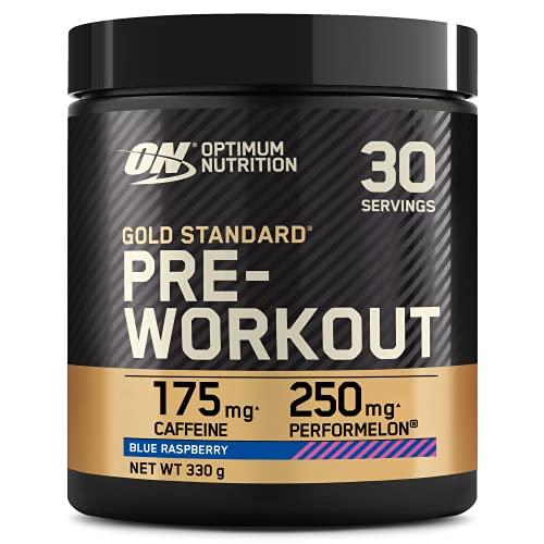 Optimum Nutrition ON Gold Standard Pre Workout, Energy Drink Pulver mit Kreatin Monohydrat, Beta Alanin, Koffein und Vitamin B Komplex, Blue Raspberry, 30 Portionen, 330g, Verpackung kann Variieren