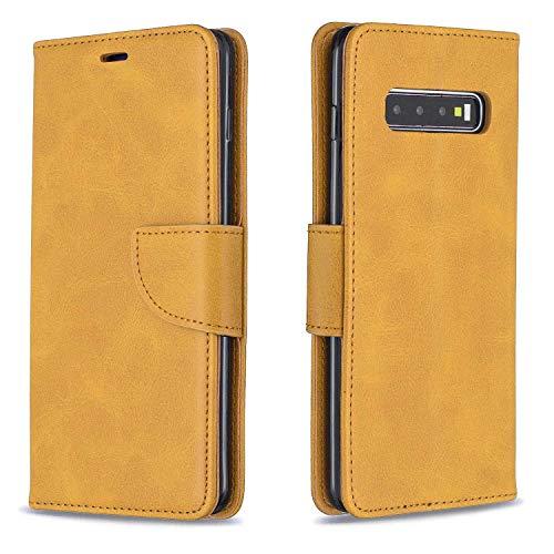 GIMTON Hülle für Galaxy S10 Plus, Kratzfestes PU Leder mit Magnetisch Verschluss und Kartenfach für Samsung Galaxy S10 Plus, Hochwertige Brieftasche Tasche, Gelb