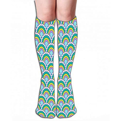 NGMADOIAN hoge sokken lichte schubben squama achtergrond stof patroon gegolfd textieldruk klassieke Japanse squama roos tegel L 19,7 'in (50cm)